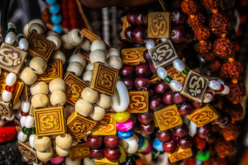 closeup of colored jewelry from the beach in southern India