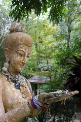 Decorative Buddhist statue at Wat Pha Lat, also known as Wat Sakithaka, a temple and monastery on Doi Suthep mountain in Chiang Mai, Thailand.
