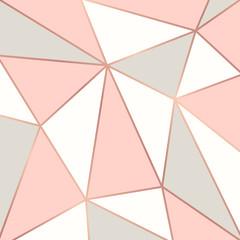 Polygonal background with rose gold frames. Vector illustration