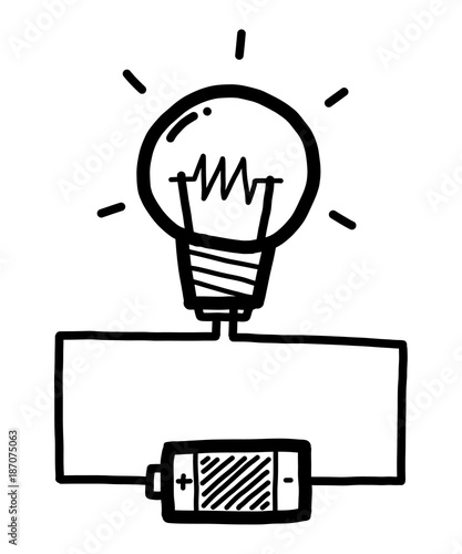 u0026quot light bulb with battery    cartoon vector and illustration  black and white  hand drawn  sketch