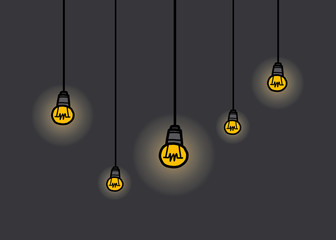 five light bulbs hanging / cartoon vector and illustration, hand drawn style, isolated on dark background.