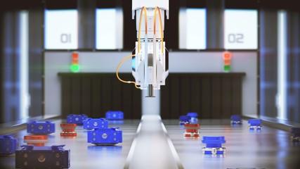 robotic arm conveyor selection. 3d illustration
