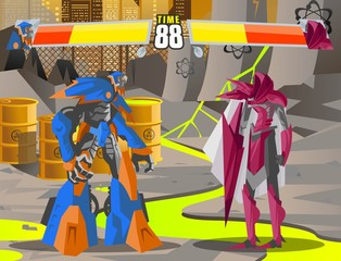 robot battle fighting videogame screen