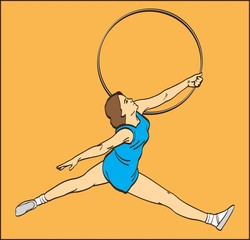 GYMNAST GIRL WITH A HOOP ON THE ORANGE BACKGROUND