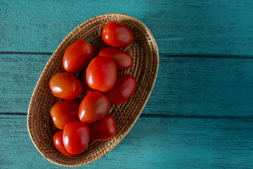 Bowl of Fresh Ripe Tomatoes on Wooden Table, Healthy Vegetable, Top View