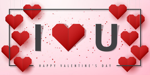 Happy valentine's day and love vector card and poster design with origami heart and confetti.Illustration eps10.