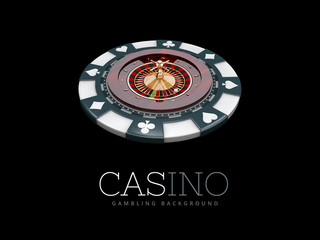 Casino roulette wheel. 3d illustration. isolated black