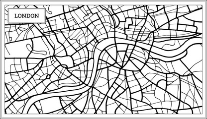 London Map in Black and White Color.