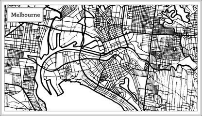 Melbourne Australia Map in Black and White Color.