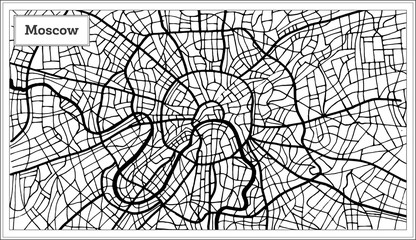 Moscow Russia City Map in Black and White Color.