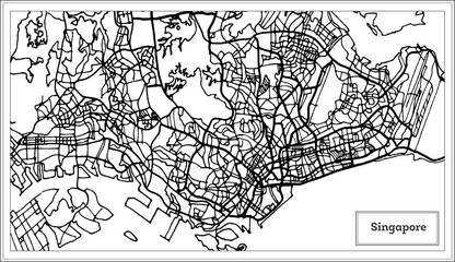 Singapore City Map in Black and White Color.