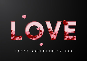 Happy valentine's day vector card and poster design with love text and heart confetti.Illustration eps10.
