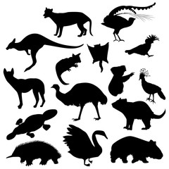 australian animals black silhouettes
