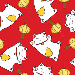 symbol luck seamless pattern cute maneki neko and festive lantern on a red background