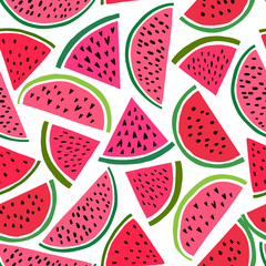 Watermelon seamless pattern. Vector background with cute watermelon slice. Melon fruit print illustration
