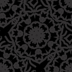 dark monochrome seamless background with decorative ornament . vector illustration