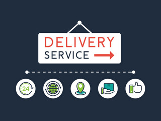 Flat style vector illustration delivery service concept. Delivery text sign with flat line icons. Fast shipping vector illustration. Fast delivery concept