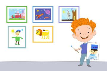 Радостный мальчик стоит и держит в одной руке нарисованный портрет моряка, а в другой руке - кисточку с краской. На стене висят другие рисунки в рамочках.