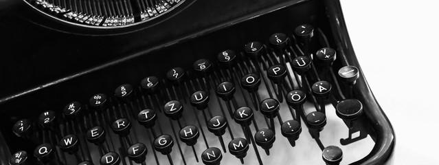 Old manual typewriter keyboard fragment