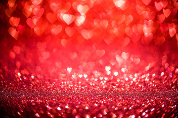 Red Hearts Background with Bright Bokeh Lights for Valentine's Day or Christmas