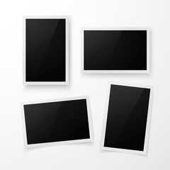 Set of photo frame with shadow. Realistic photo border template. Vector illustration isolated on white background