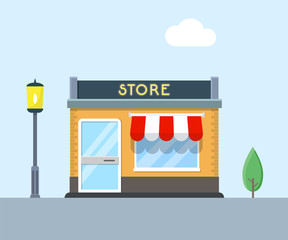 Store building vector flat illustration.