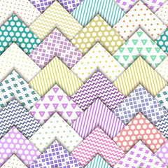 Seamless vector colorful pattern. Paper white squares with color ornaments lying on each other. Holiday packages, wallpaper, background.