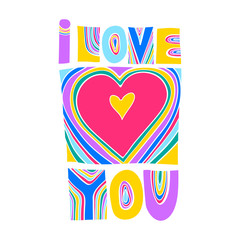"""Vector colorful lettering """"I love you"""". Hand drawn curve bright letters."""