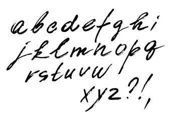 The font vector set of cursive alphabet. Italic font, written marker, fast style with weak pressure.