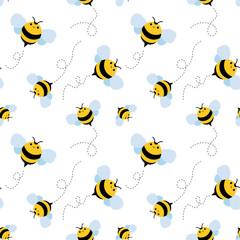 bee seamless pattern. honey vector.