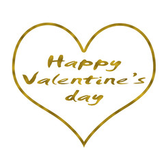 happy valentine day on white background. luxury gold happy valentine day text letter. gold valentine day calligraphy text fot gressting card.