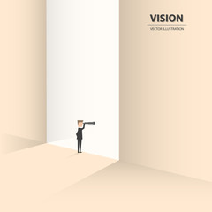 A Businessmen standing in front of a gate and looking in telescope. Business concept of vision, opportunities, challenge and future. Vector illustration.