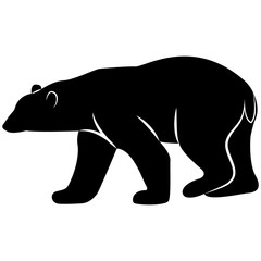 Vector image of a white bear silhouette on a white background