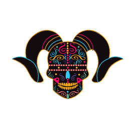 Devil skull icon with horns and ornament details vector