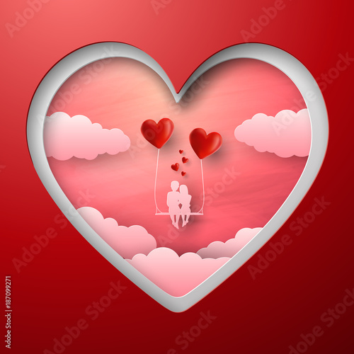 Valentine S Day Cut Paper Heart And Cut Couple Vector Illustration