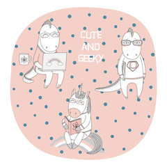 Hand drawn vector illustration of a cute funny cartoon unicorn reading a book, dragons in glasses, with a laptop computer, comic, text. Isolated objects. Design concept children, geek culture