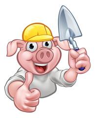 Pig Builder Cartoon Character