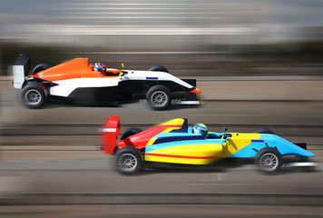 Poster Motorise Formula 4.0 race cars racing at high speed