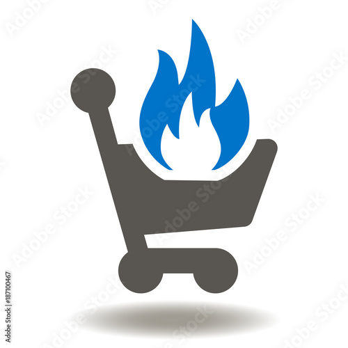 Shopping Cart Fire Flame Icon Vector  Hot Sales Illustration