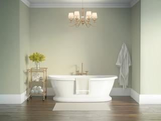 Classic luxury vintage olive green bathroom