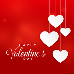 red valentine's day background with hanging white hearts