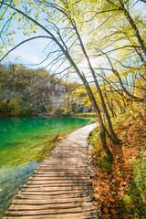 Beautiful landscape, clear green water and wooden path in the Plitvice Lakes National Park in Croatia
