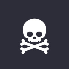 danger icon skull and bones vector sign