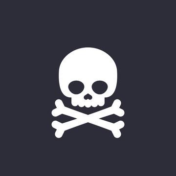 danger icon skull and bones vector sign