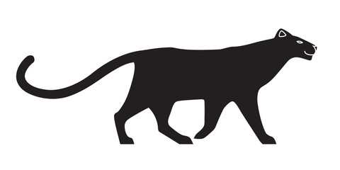 Black stylized silhouette of panther. Vector wildcat on white background. Isolated on white background.