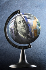 Globe with the image of the dollar