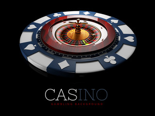 Realistic casino gambling roulette wheel with chip. 3d play chance luck roulette wheel illustration.