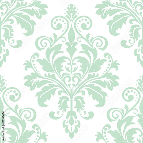 Floral Pattern Wallpaper Baroque Damask Seamless Vector Background Green And White Ornament