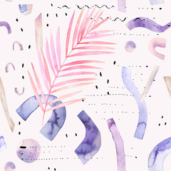 Printed kitchen splashbacks Watercolor Nature Abstract watercolor background with tropical, geometrical elements in minimal, bauhaus, hipster style