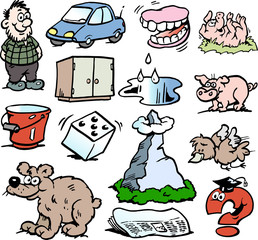 Cartoon Vector illustration of a set of funny small drawings or icons